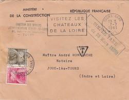 LETTRE. 1961. TOURS-GARE  POUR JOUE-LES-TOURS TAXE GERBE  0,25Fr  /   3 - Marcophilie (Lettres)