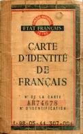 Carte D'identité De Français En 1942 - Documentos
