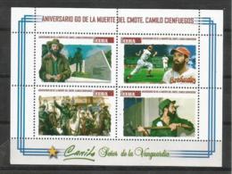 Cuba 2019 60th Anniversary Of Camilo Cienfuegos`s Death. Baseball And Horses M/S MNH - Cuba