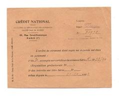 Ordre De Virement Crédit National Pour Faciliter La Réparation Des Dommages Causés Par La Guerre De1923 - Diplomas Y Calificaciones Escolares