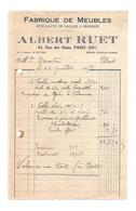 Facture Fabrique De Meubles Spécialité De Salles à Manger Albert Ruet Paris En 1927 - 1900 – 1949
