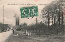 60 Montigny Route De Maignelay Le Fort Philippe Cpa Carte Animée Cachet Convoyeur 1908 - Maignelay Montigny