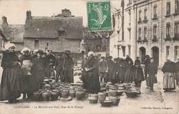 22 Guingamp Le Marché Aux Pots Rue De La Pompe Cpa Carte Animée Cachet 1909 - Guingamp