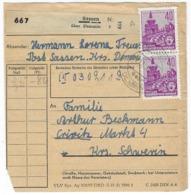 DEUTSCHLAND/ DDR – Paketkarte, 2.12.1958, Mit  40 Pf # 418 (2x) – 1712 - [6] República Democrática