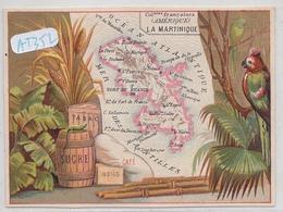 CHROMOS- PUBLICITE GRAND CAFE DE LA BOURSE- ALFRED DORNIER A BESANCON- CARTE DE LA MARTINIQUE - Altri