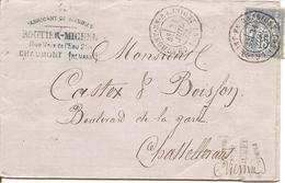 HAUTE-MARNE SAGE  Sur LAC OBLI  CHAUMONT EN BASSIGNY Pour CHATELLERAULT - Marcophilie (Lettres)