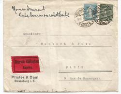 SEMEUSE 25C+ 15C LETTRE STRASBURG 20.12.1918 ELS EXPRES POUR PARIS - 1903-60 Semeuse A Righe