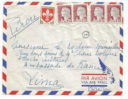 DECARIS 25CX4+5C BLASON LETTRE AVION DOMFRONT ORNE 1961 POUR LE PEROU - 1960 Marianne (Decaris)