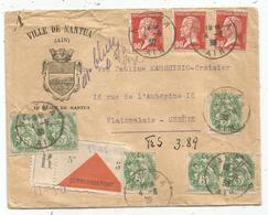 PASTEUR 90CX3+ BLANC 5X6 LETTRE REC NANTUA AIN 1930 POUR SUISSE + ETIQUETTE CONTRE REMBOURSEMENT ETRANGER RARE - 1921-1960: Periodo Moderno