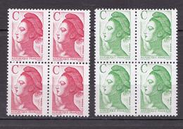N ° 2615 Et 2616 Type Liberté Avec La Lettre C: Série En  Blocs De 4 Timbres  Neuf Impeccable - Unused Stamps