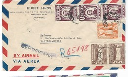 COVER CORREO AEREO PEROU - LIMA - BASEL - BASILEA - SUISSE - CERTIFICADO - 1948. - Pérou