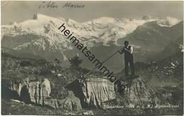 Stanserhorn - Alphornbläser - Foto-AK - Verlag E. Goetz Luzern - Vorderseite Beschrieben - NW Nidwalden