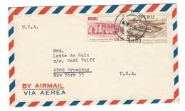 COVER CORREO AEREO PERU - LIMA - SAN ISIDRO - BROADWAY - NEW YORK. - Peru