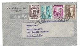 COVER CORREO AEREO PERU - TACNA - CREDIT SUISSE - ZUERICH - SUISSE. - Pérou