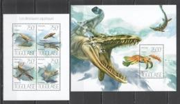 TG764 2013 TOGO TOGOLAISE ANIMALS & FAUNA PREHISTORIC MARINE DINOSAURS KB+BL MNH - Postzegels