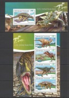 TG532 2014 TOGO TOGOLAISE FAUNA REPTILES PREHISTORIC ANIMALS DINOSAURS KB+BL MNH - Postzegels