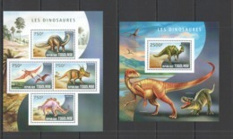 TG541 2014 TOGO TOGOLAISE FAUNA REPTILES PREHISTORIC ANIMALS DINOSAURS KB+BL MNH - Postzegels