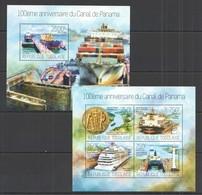 TG554 G970 2014 TOGO TOGOLAISE TRANSPORT SHIPS 100TH ANNIVERSARY PANAMA CANAL KB+BL MNH - Ships