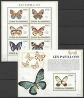 UC067 2009 UNION DES COMORES FAUNA BUTTERFLIES LES PAPILLONS 1KB+1BL MNH - Schmetterlinge