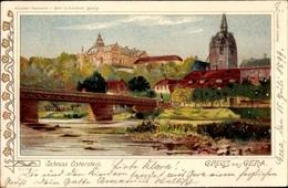 Lithographie Gera Thüringen, Blick Auf Schloss Osterstein - Altri