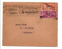 AFFRANCHISSEMENT COMPOSE SUR LETTRE A EN TETE DE PARIS XX 1927 - Marcophilie (Lettres)