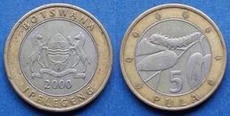 "BOTSWANA - 5 Pula 2000 ""mopane Worm On A Mopane Leaf""  KM# 30 - Edelweiss Coins - Botswana"