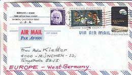 Etats Unis - Lettre De 1969 - Oblit La Mesa - Exp Vers München - Espac - Apollo 8 - Vignettes Noël 1969 - Cartas