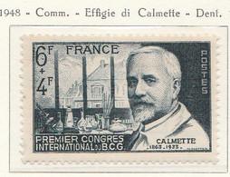 """PIA - FRA - 1948 : Effigie Del Medico Calmette E """"Primo Congresso Internazionale B.C.G. - (Yv  814) - Medicina"""
