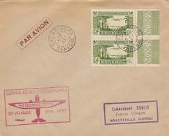 LETTRE SENEGAL. 1937. 1° VOYAGE AEROMARITIME SENEGAL CONGO  / 2 - Sénégal (1887-1944)