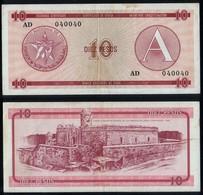 Cuba RADAR 040040 P FX4 - 10 Pesos 1985 Series A - VF - Cuba