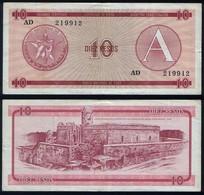 Cuba RADAR 219912 P FX4 - 10 Pesos 1985 Series A - VF - Cuba