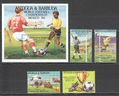 TT1351 ONLY ONE IN STOCK OVERPRINT ANTIGUA & BARBUDA FOOTBALL WORLD CUP MEXICO 1986 MICHEL #968-71 BL115 19 EU 1SET MNH - Coppa Del Mondo