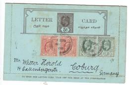Ganzsache Von Ceylon Nach Deutschland , 1908 , Kartenbrief - Ceylon (...-1947)