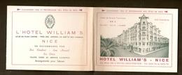 Petit Dépliant - Calendrier Pour 1952 -  Hôtel Williams - NICE - Calendriers