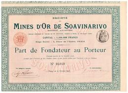 Titre Ancien - Société Des Mines D'Or De Soavinarivo - Titre De 1905 - - Mijnen