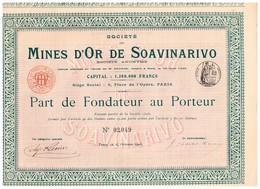 Titre Ancien - Société Des Mines D'Or De Soavinarivo - Titre De 1905 - - Mines