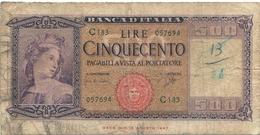 BANCA D'ITALIA - Lire 500  - Decreto  23.3.1961- Firme: Carli / Ripa - Grado Di Rarità  NON COMUNE - [ 2] 1946-… : République