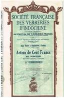 Titre Ancien - Société Française Des Verreries D'Indochine - Titre De 1929 - - Azië