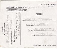 PRISONNIER DE GUERRE 40 45 ALLEMAND EN BELGIQUE CAMP 2226 ZEDELGEM VERS BREMEN  1946 - Militaria