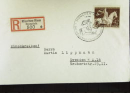 """DR: E-Fern-Brief Mit 42+108 Pf 10. Rennen """"Braune Band"""" EF SoSt. München-Riem Vom 1.8.43 Rs. Eing.St. Dresden Knr: 854 - Briefe U. Dokumente"""