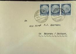 "DR: Fern-Brief Mit 4 Pf ""Hindenburg"" MeF OSt. GRIESHEIM Vom 16.6.38 Nach Rabenau An Fa. P.J. Sparmann Knr: 514 (3) - Briefe U. Dokumente"