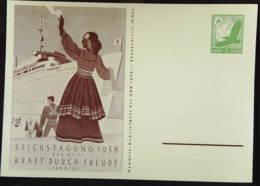 """DR: Sonder-Gs-Karte Mit 5 Pf """"Luftpost""""  ZUR REICHSTAGUNG KdF HAMBURG - Ungebraucht- Knr: P 246 - Briefe U. Dokumente"""