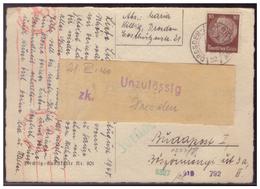 Dt-Reich (007622) Auslandspostkarte Sondertarif, Mit Zensur Und Zurück, Gelaufen Dresden Am 15.8.1940 - Deutschland