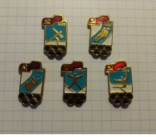 Jeux Olympiques 1992 Lot 5 Pin's Russes: Ski, Saut, Patinage, Bobsleig... - Olympische Spelen