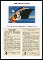 FRENCH LINE - PAQUEBOT NORMANDIE - 2 CARTES PUBLICITAIRES CIRAGES DU LION NOIR - Boats