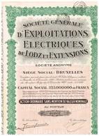 Titre Ancien - Société Générale D'Exploitations Electriques De Lodz Et Extensions - Titre De 1927 - - Elektriciteit En Gas