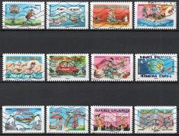 France - Adhésifs N° 1140 à 1151 Oblitérés - Série Complète - Bonnes Vacances - Francia