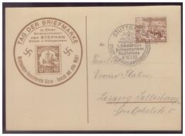 Dt- Reich (00007644) Postkarte Gelaufen Mit SST Stuttgart Am 16.1.1938 Mit Privaten Zudruck Zum Tag Der Briefmarke - Briefe U. Dokumente