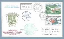2 - TAAF PO140 Et 146 Du 12.1.89 Kerguelen.Cachets Géologie - Microphytobenthos - Physico-chimie..... - Lettres & Documents