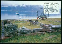 Mk Greenland Maximum Card 2000 MiNr 349 | Greenland Vikings, Dog Chasing Reindeer - Cartes-Maximum (CM)